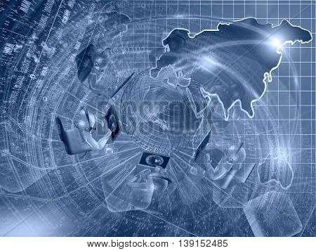 Mans and map - abstract computer background in blues.