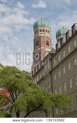 Frauenkirche In The City Of  Munich, View From Bottom Up