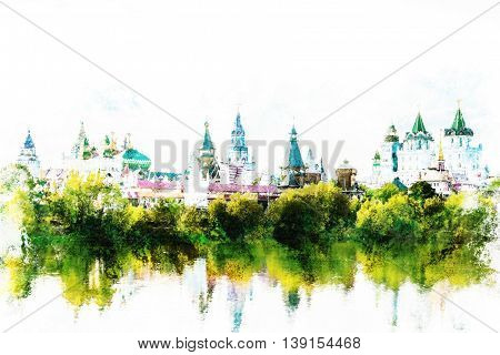 Beautiful landscape with Izmaylovo Kremlin behind river and lush greenery, Moscow, Russia. Vintage painting, background illustration, beautiful picture, travel texture