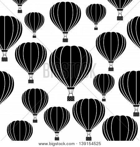 Aerostat balloon. Black and white seamless vector pattern.