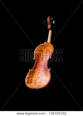 Violin music instrument of orchestra isolated on black