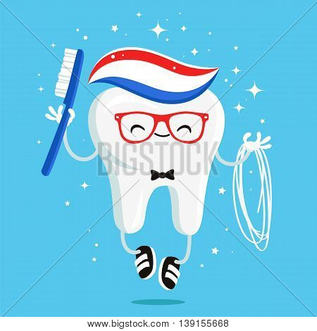 Happy healthy tooth with toothpaste brush and floss in red glasses and black sneakers. Vector illustration on a blue background. Concept of children's dentistry. Excellent dental card. Cute character. Caries prevention.