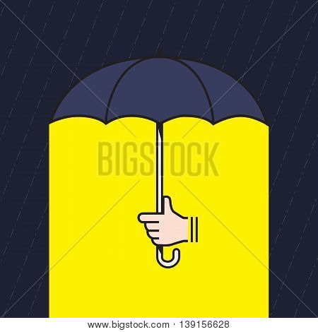 Vector : Hand Holding Umbrella Under Rain With Yellow Light Under Umbrella, Creative In Bad Situatio