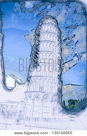View of Leaning tower, Piazza dei miracoli, Pisa, Italy. Painting of travel scene, pencil outlines of background.