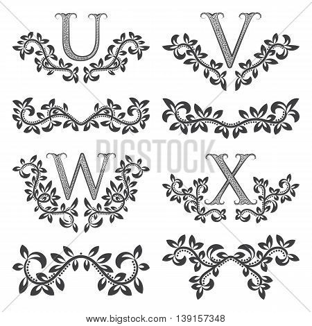 Design ornamental elements and monograms set. Floral tattoo in vintage baroque style. Vintage page ornate decorations.