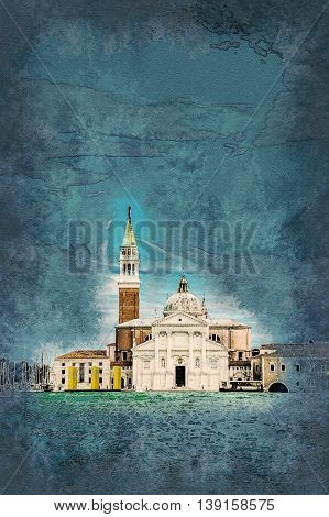 View of San Giorgio Island in Venice with wooden buoys in Giudecca Canal. Vintage painting, background illustration, beautiful picture, travel texture