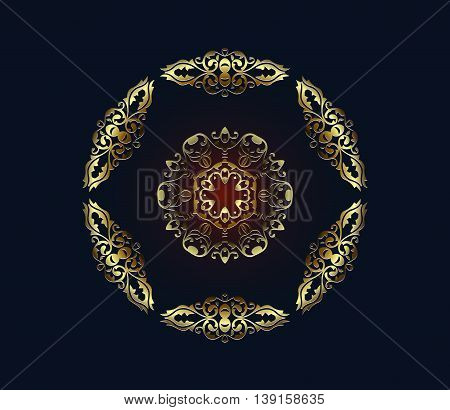 Oriental vector pattern with arabesques and floral brown and golden elements. Traditional classic ornament
