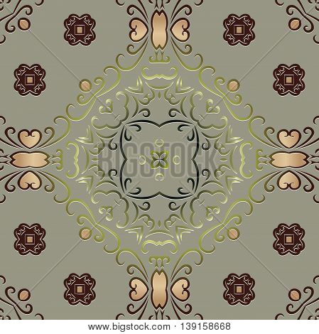 ethnic ornament symmetrical element. embossed pattern decor wallpaper, textiles on a light pastel background