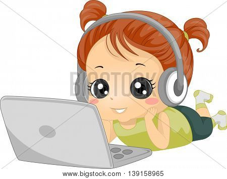 Illustration of a Little Girl Listening to Music Through Her Laptop