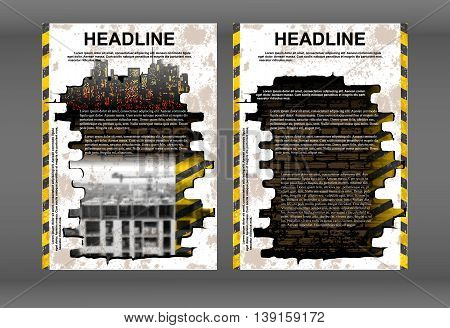 Brochure template or booklet with background building old brick wall under construction and business icons. Showing two sides front and back.