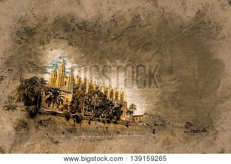 Cathedral of Palma de Mallorca, rear view from road. Big gothic church on the sea shore. Beautiful travel picture of Spain. Vintage painting, background illustration, beautiful picture, travel texture