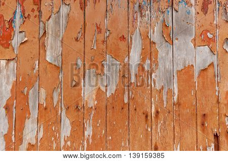 Old wooden boards with chipped paintWooden texture