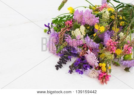 Beautiful colorful bouquet of wildflowers on white background, copyspace for advertisement or commercials