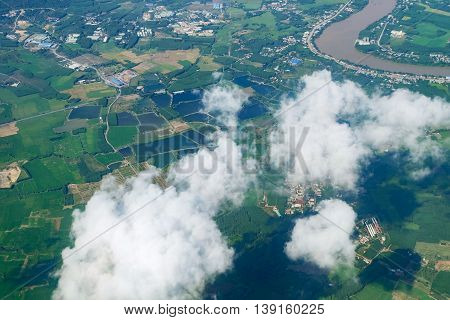 Sky Aerial View Landscape Of Farmland Agriculture