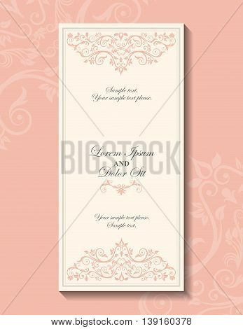 Invitation and save the date concept represented by decoration card icon. Pink and frame illustration.