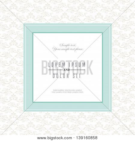 Invitation and save the date concept represented by decoration card icon. Blue and frame illustration.