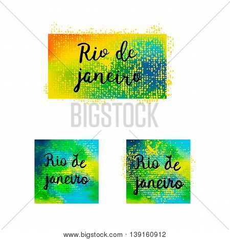 Inscription Rio De Janeiro Brazil Vacation On A Background Watercolor Stains