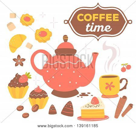 Vector illustration of colorful set of coffee pot, cups of coffee, pastries, sugar with text coffee time isolated on white background with star. Hand drawn art design for web site banner poster card paper print shop cafe menu.