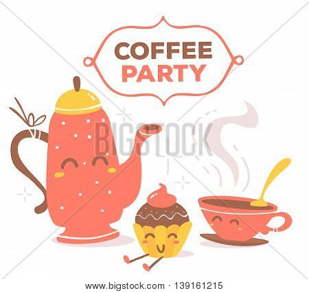 Vector illustration of colorful smiling coffee pot, cup of coffee, piece of cake with text coffee party on white background. Hand drawn art design for web site banner poster card paper print shop cafe menu.