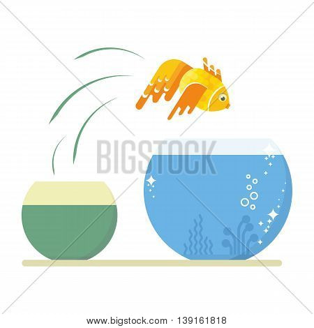 Goldfish jumping out of the dirty little fishbowl to another aquarium with clean and clear water. Objects isolated on white background. Flat cartoon vector illustration.