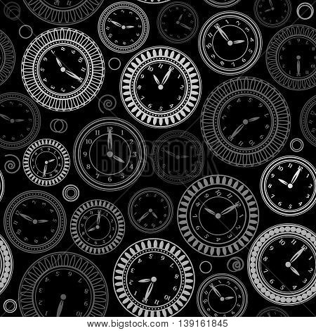 Seamless pattern with white clocks on black background