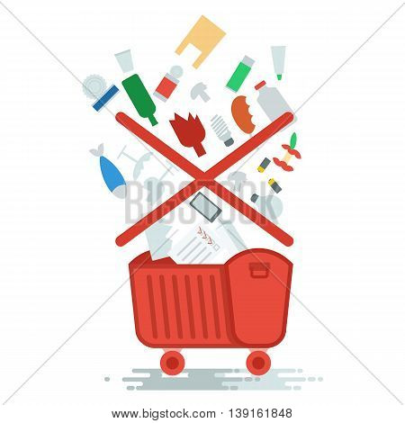 Collection of household waste. Improper garbage disposal. Objects isolated on white background. Flat cartoon vector illustration.