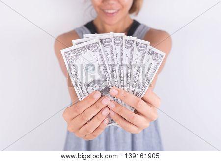 hands show money dollar bills. business finance concept