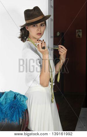 Stylish Girl Smokes Electronic Cigarette