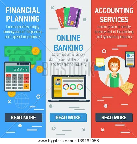 Vector vertical banners financial concept. Financial planning online banking accounting services in flat style. Web banners and elements