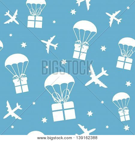 Cartoon airplanes and parachutes with gift boxes. Vector seamless texture can be used for wallpaper, pattern fills, web page, background, surface.