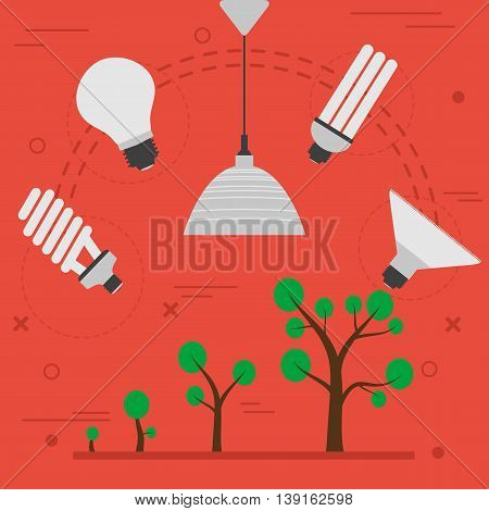 Vector concept phyto light lamp for artificial plants lighting in flat style on red
