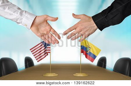 United States and Ecuador diplomats shaking hands to agree deal, part 3D rendering