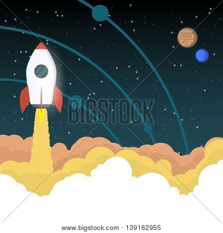 Rocket like space ship goes up in the sky with stars and planets with orbits. Project start up concept or space exploration background.