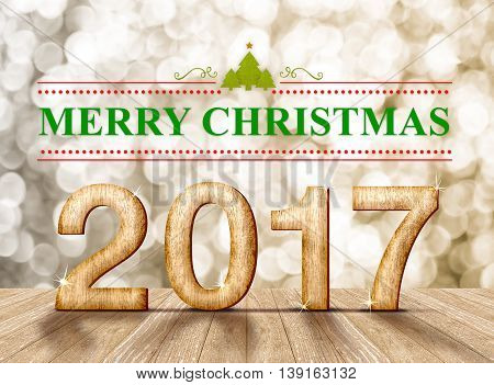 Merry Christmas 2017 (3d rendering)word in perspective room with gold sparkling bokeh lights and wooden plank floorleave space for display of product.