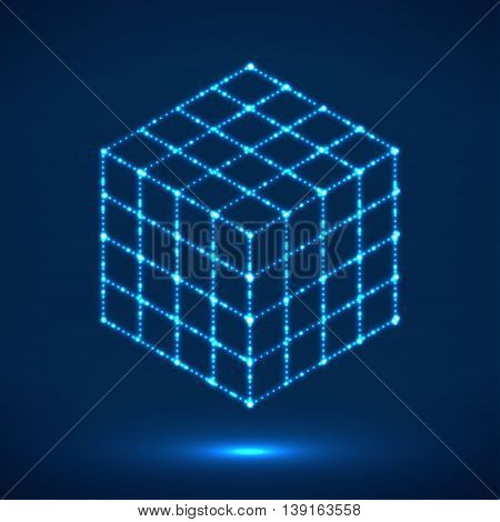 Cube of glowing lines, molecular lattice, geometric shape, network connection