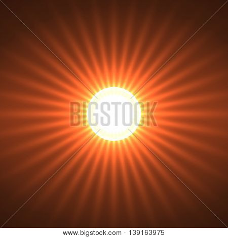 Abstract background with glowing sun rays. Vector