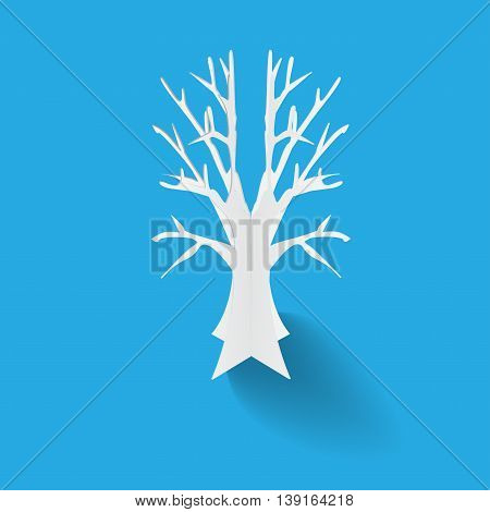 illustratiion of a white paper tree for background or icon