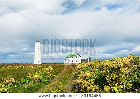 Lighthouse On The Atlantic Coast In Reykjavik, Iceland