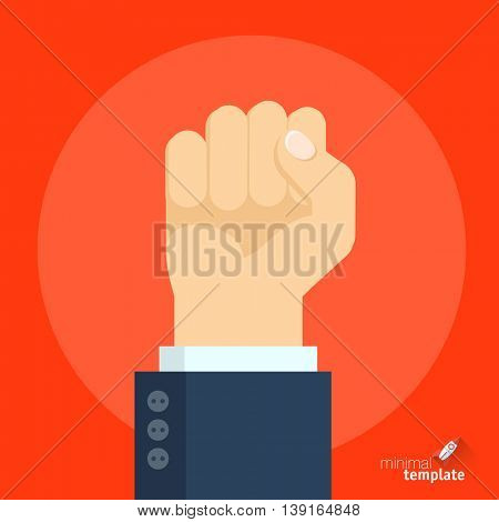 Flat design vector fist hand gesture icon template  for application interface, presentation and web design. Concept for resistance, conflict, riot, anger, unity and fight for people rights.