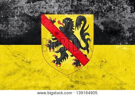 Flag Of Namur With Coat Of Arms, Wallonia Region, Belgium, With