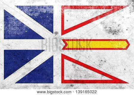 Flag Of Newfoundland And Labrador Province, Canada, With A Vinta