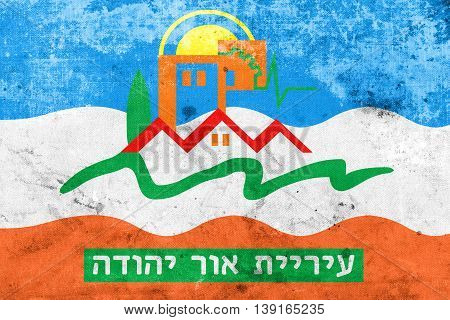 Flag Of Or Yehuda, Israel, With A Vintage And Old Look