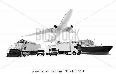 Freight Transportation isolated on white background. 3D render