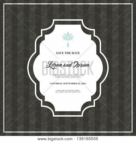 Invitation and save the date concept represented by decoration card icon. Grey and frame illustration.