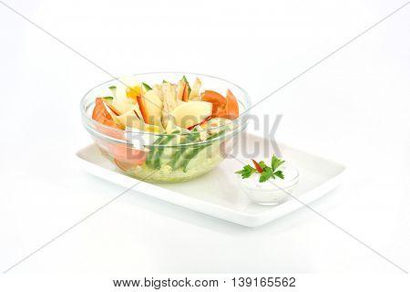 Beautiful sliced food arrangement isolated on white background