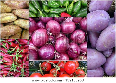 Photo Collage Of Fresh Vegetables