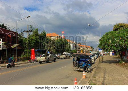 Krabi, Thailand, Asia - Dec 28, 2013: provincial street on the Peninsula of Krabi ,leading to AO Nang beach