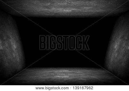 empty interior with dark hole background