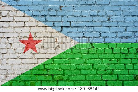 Flag of Djibouti painted on brick wall background texture
