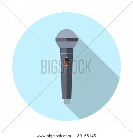 microphone icon with long shadow. vector illustration in flat design on light background